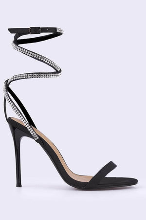 Black Satin Diamante Embellished Sandals
