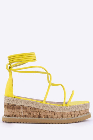 Yellow Nubuck Flatform Cork Sandals