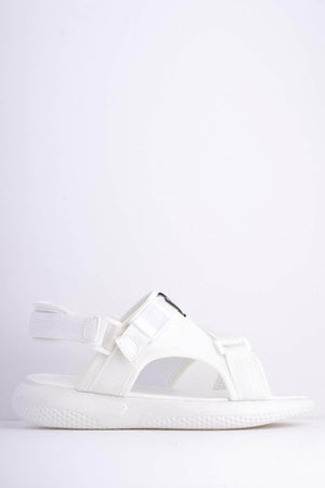 White M Scuba Cross Over Velcro Sports Sandals