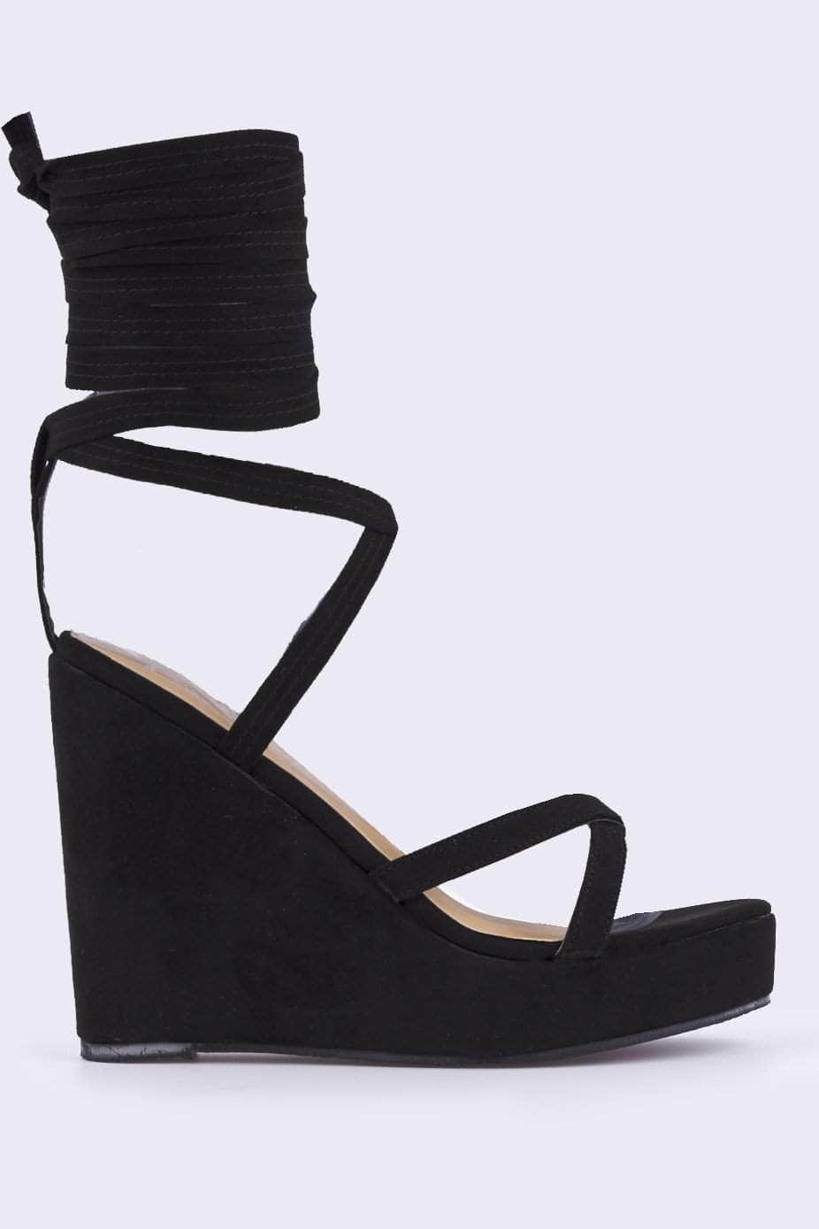 Black Suede Lace Up Wedge Sandals