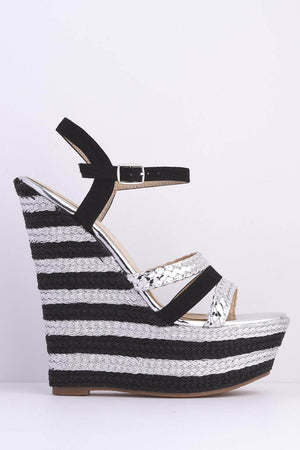 Silver & Black Stripe Wedge Espadrilles