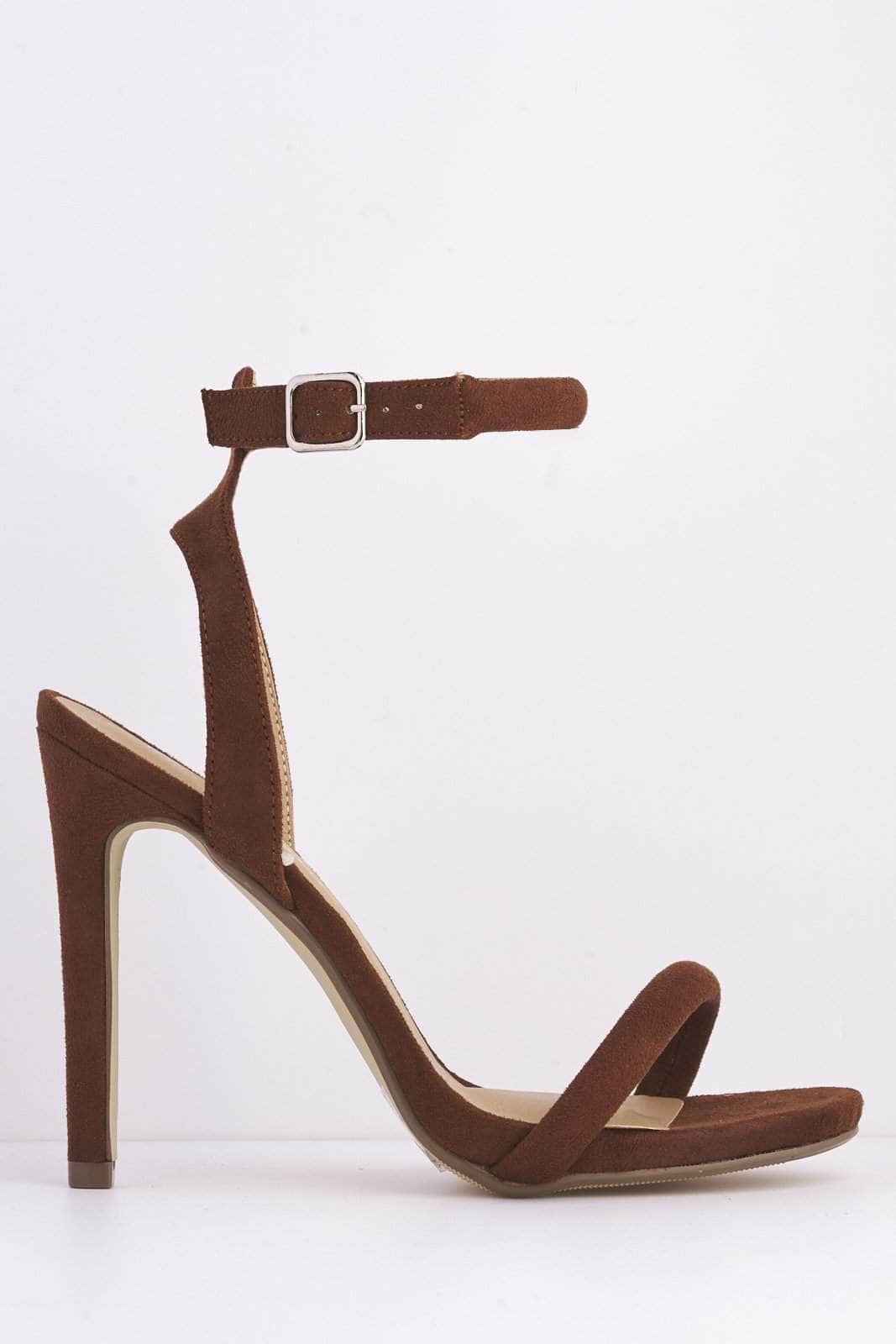 Brown Suede Open Toe Heels