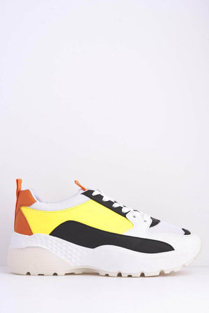 White & Yellow Chunky 90's Trainers