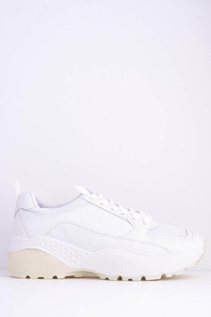 All White Chunky Pu & Mesh Trainers