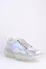 Silver Holographic Perspex Chunky Clear Sole Trainers