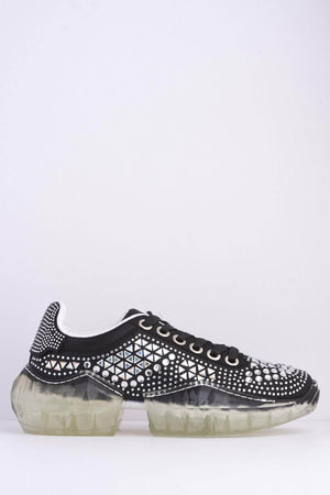 Black Shimmer Diamante Clear Chunky Sole Trainers