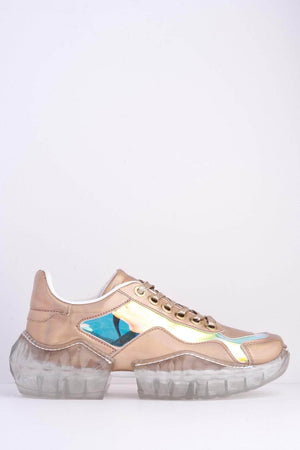 Champagne Holographic Perspex Chunky Clear Sole Trainers