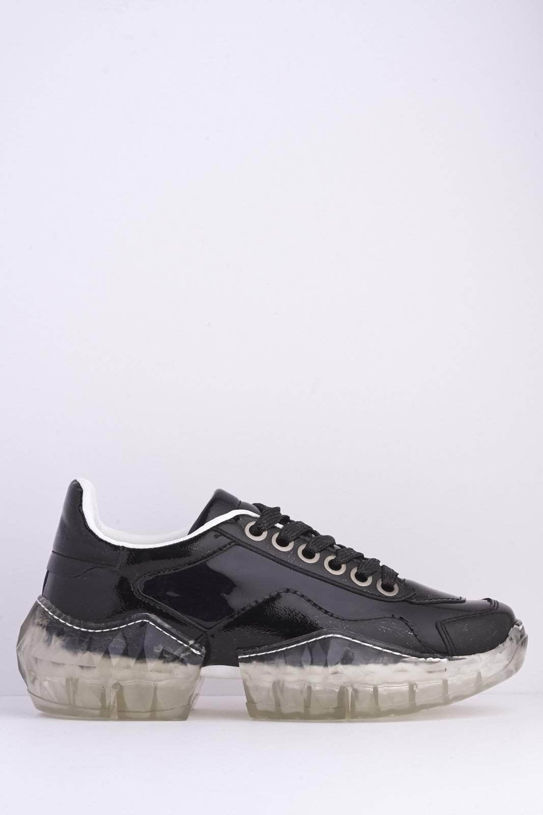 Black Pvc Chunky Clear Sole Trainers