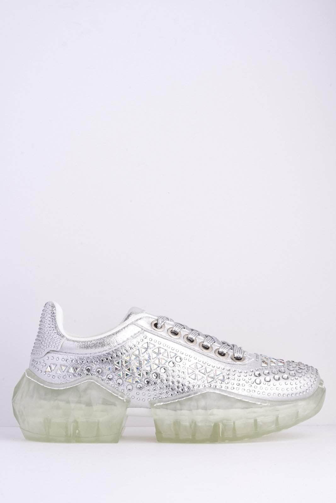 Silver Shimmer Diamante Clear Chunky Sole Trainers