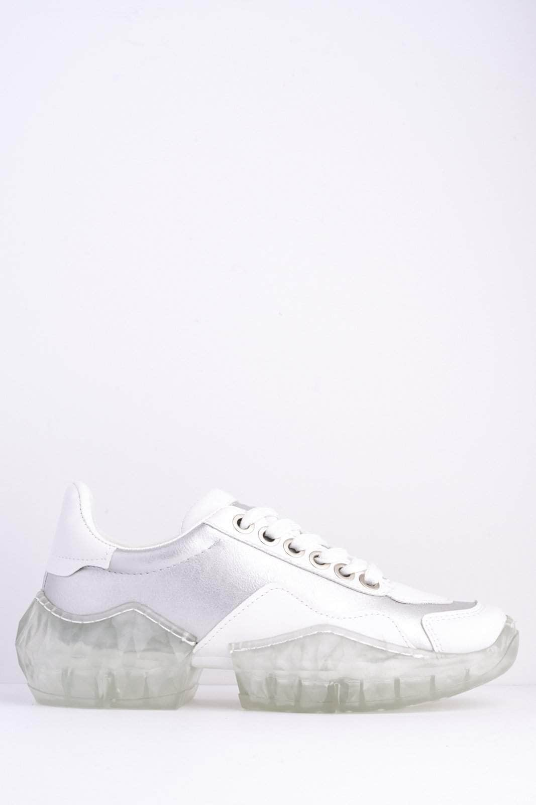 Silver & White Chunky Clear Sole Trainers