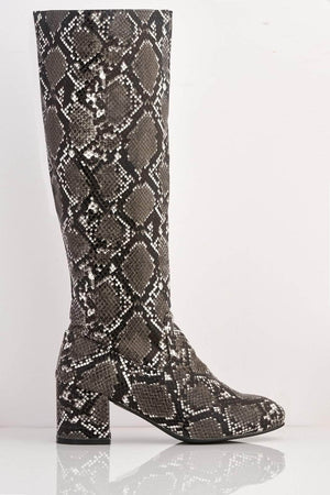 Black Snake Pu Knee High Boots