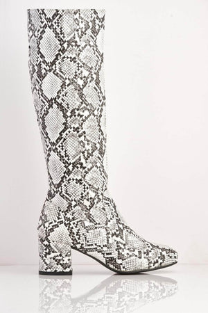 White Snake Pu Knee High Boots