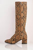 Brown Snake Pu Knee High Boots