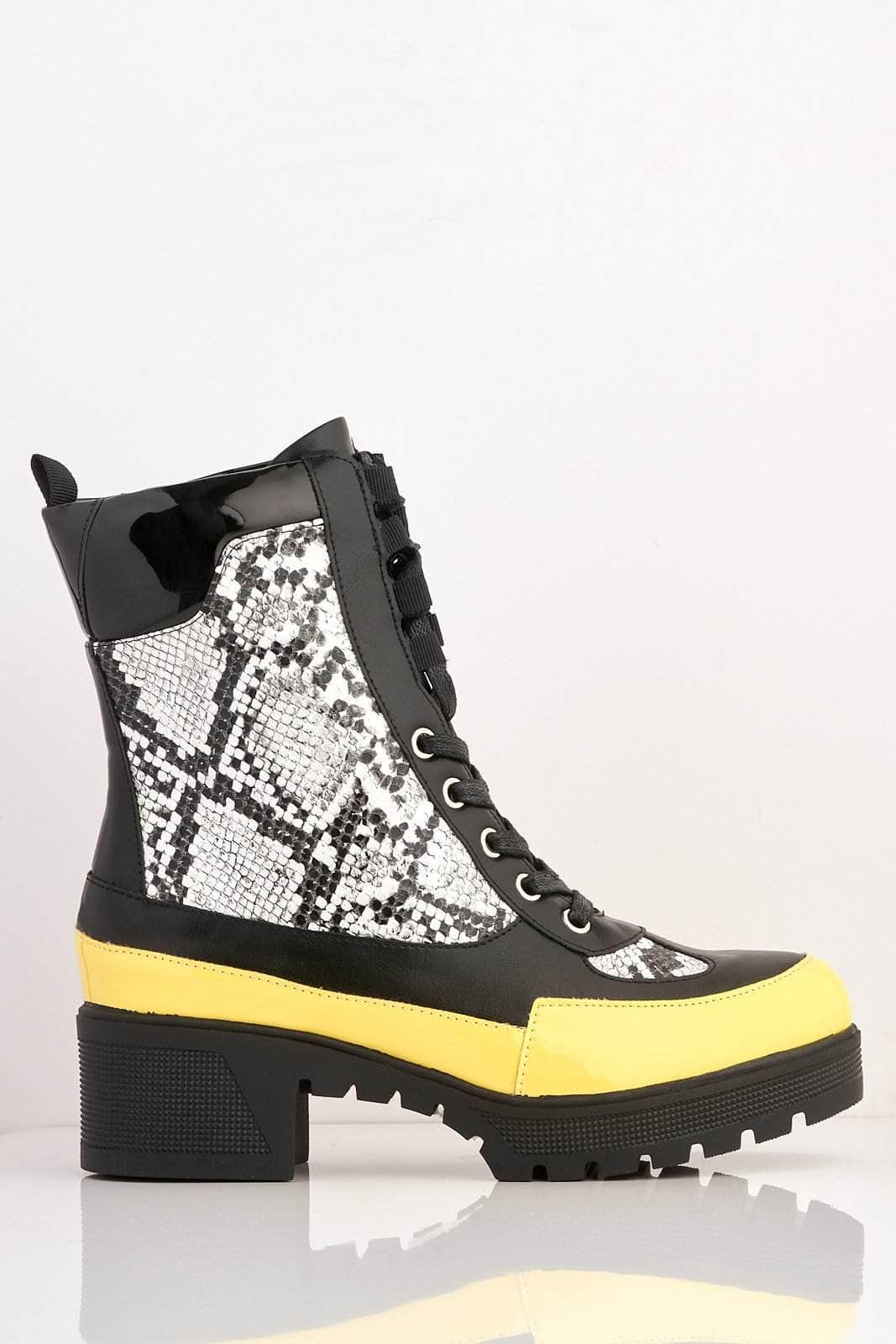 Black Patent & Yellow Contrast Snake Biker Boots
