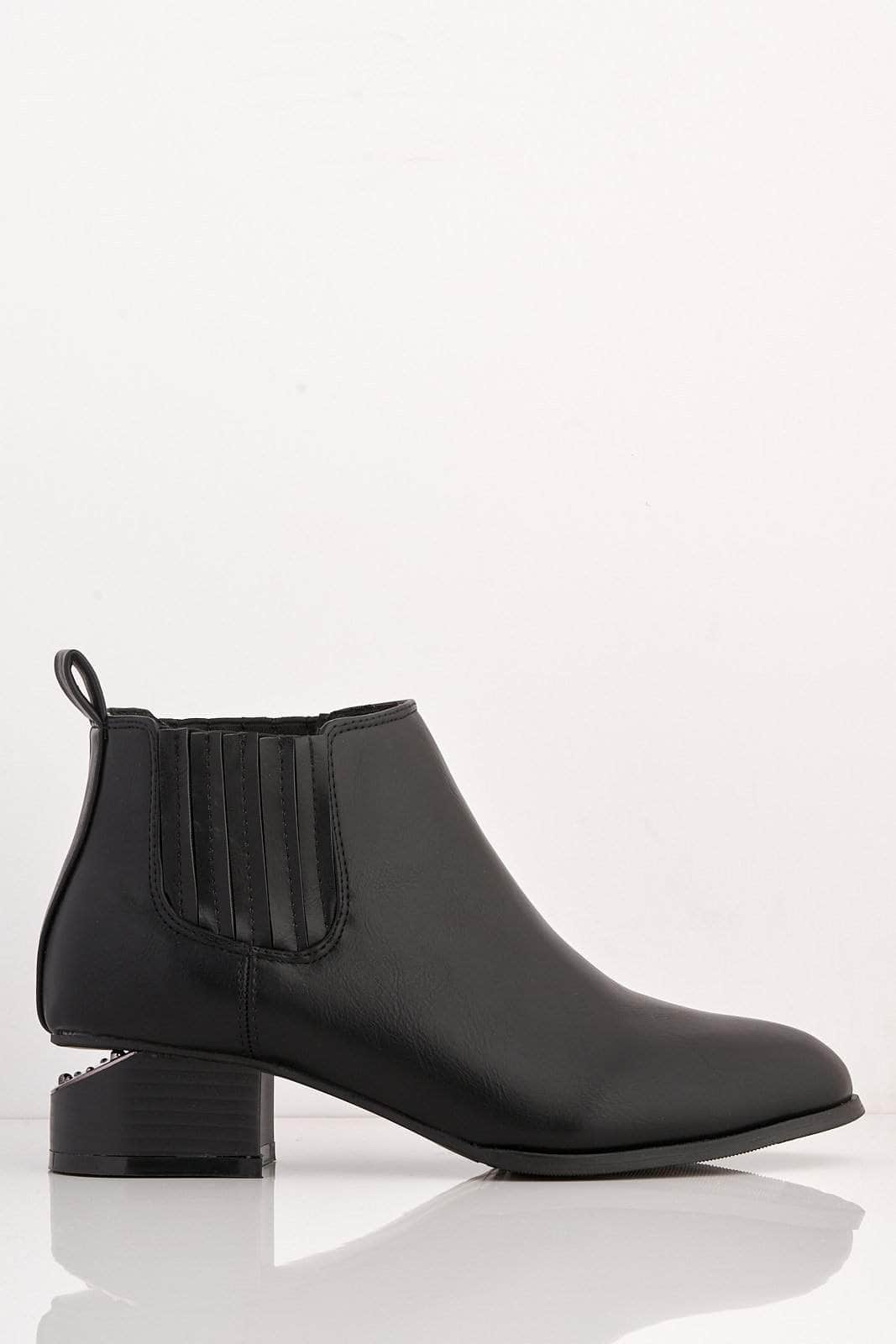 Black Pu Ankle Boots with Cut Out Heel