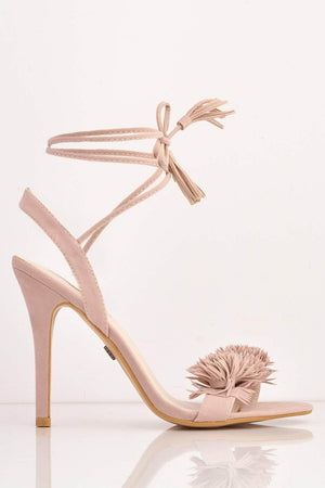 Blush Faux Suede Floral Stiletto Heels