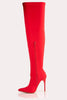 Red Lycra Stripe Pointed Thigh High Boots