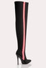 Black Lycra Stripe Pointed Thigh High Boots