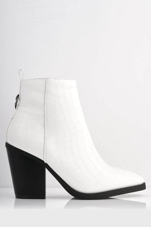 White Pu Croc Pointed Western Boots