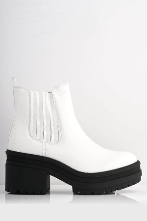 White Patent Chunky Chelsea Boots