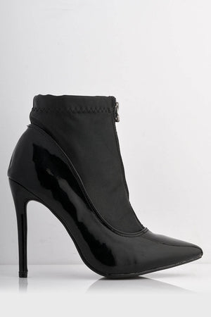 Black Patent Contrast Stretch Pu Zip Up Boots