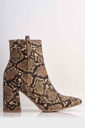 Brown Pu Snake Pointed Ankle Boots