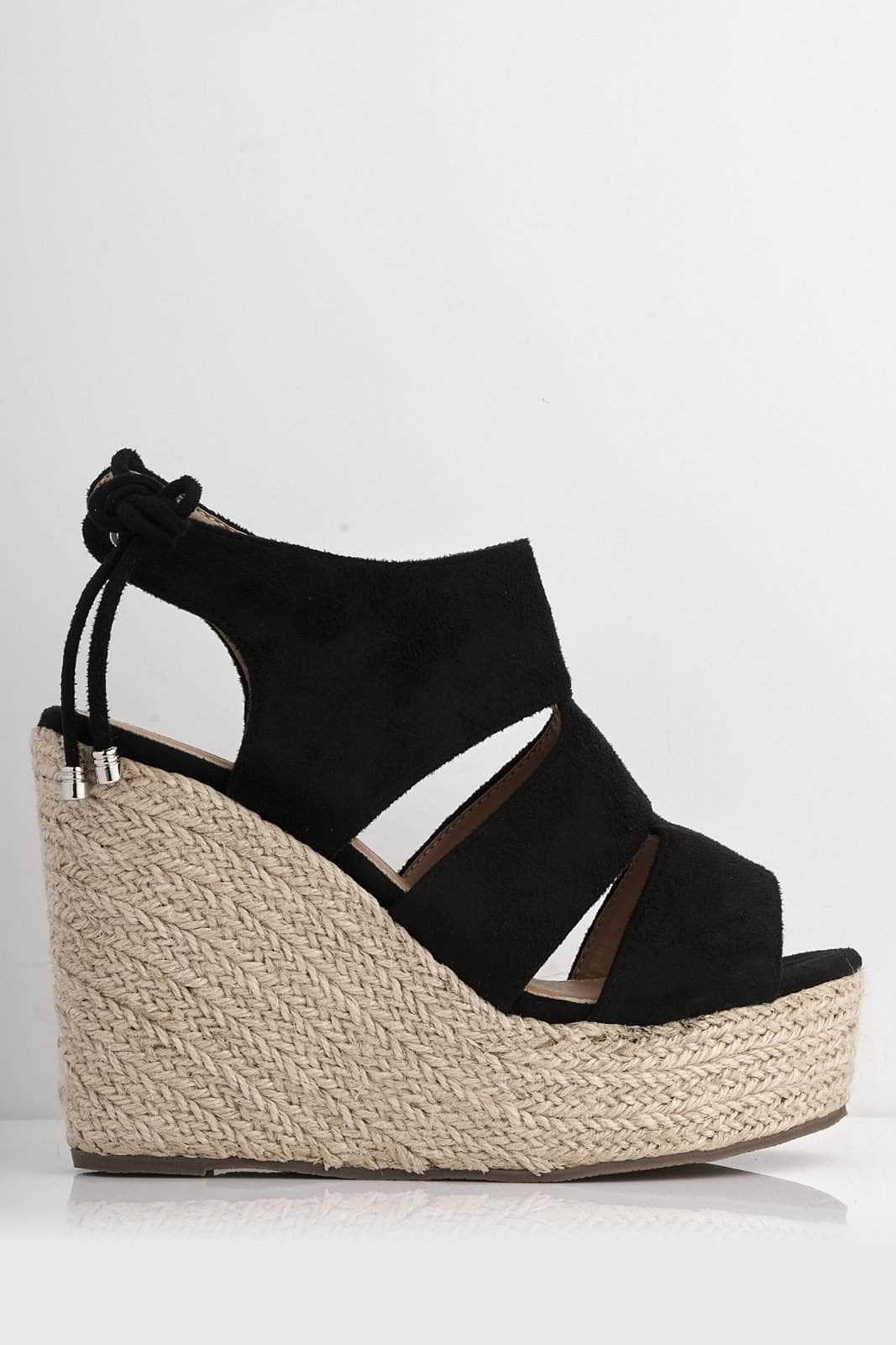 Black Suede Cut Out Peep Toe Wedges