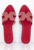 Red Suede Studded Pointed Cut Out Sliders