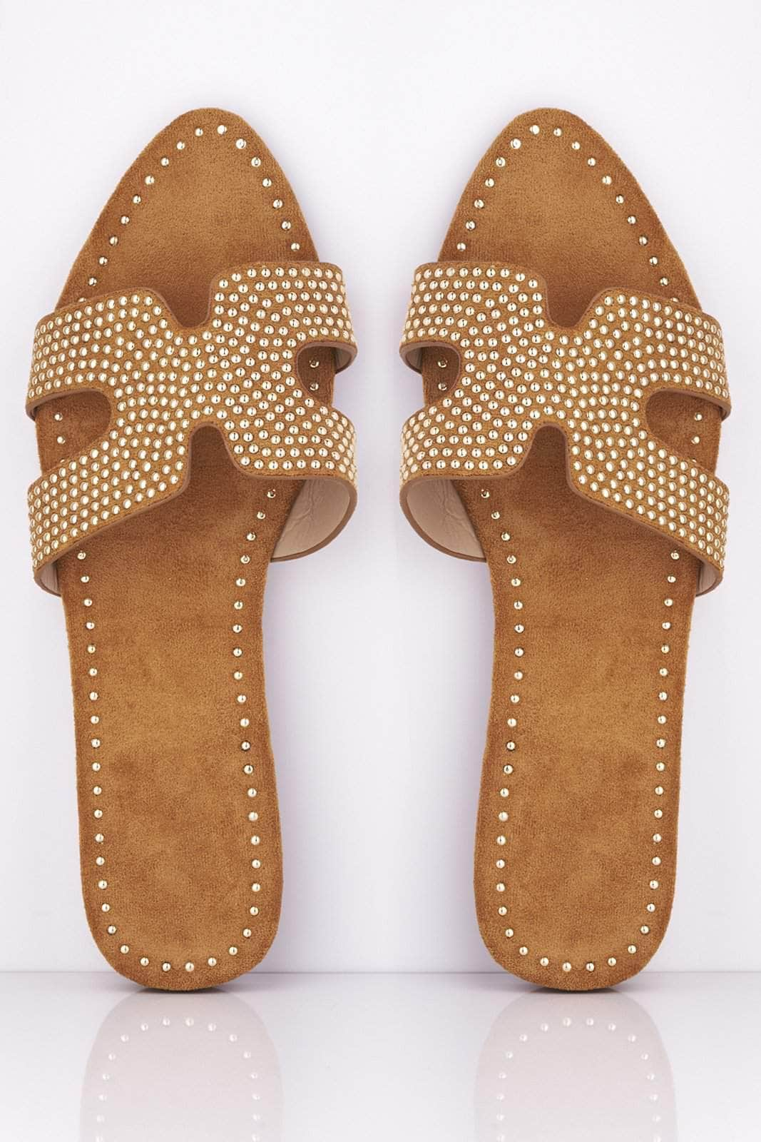 Camel Suede Studded Pointed Cut Out Sliders