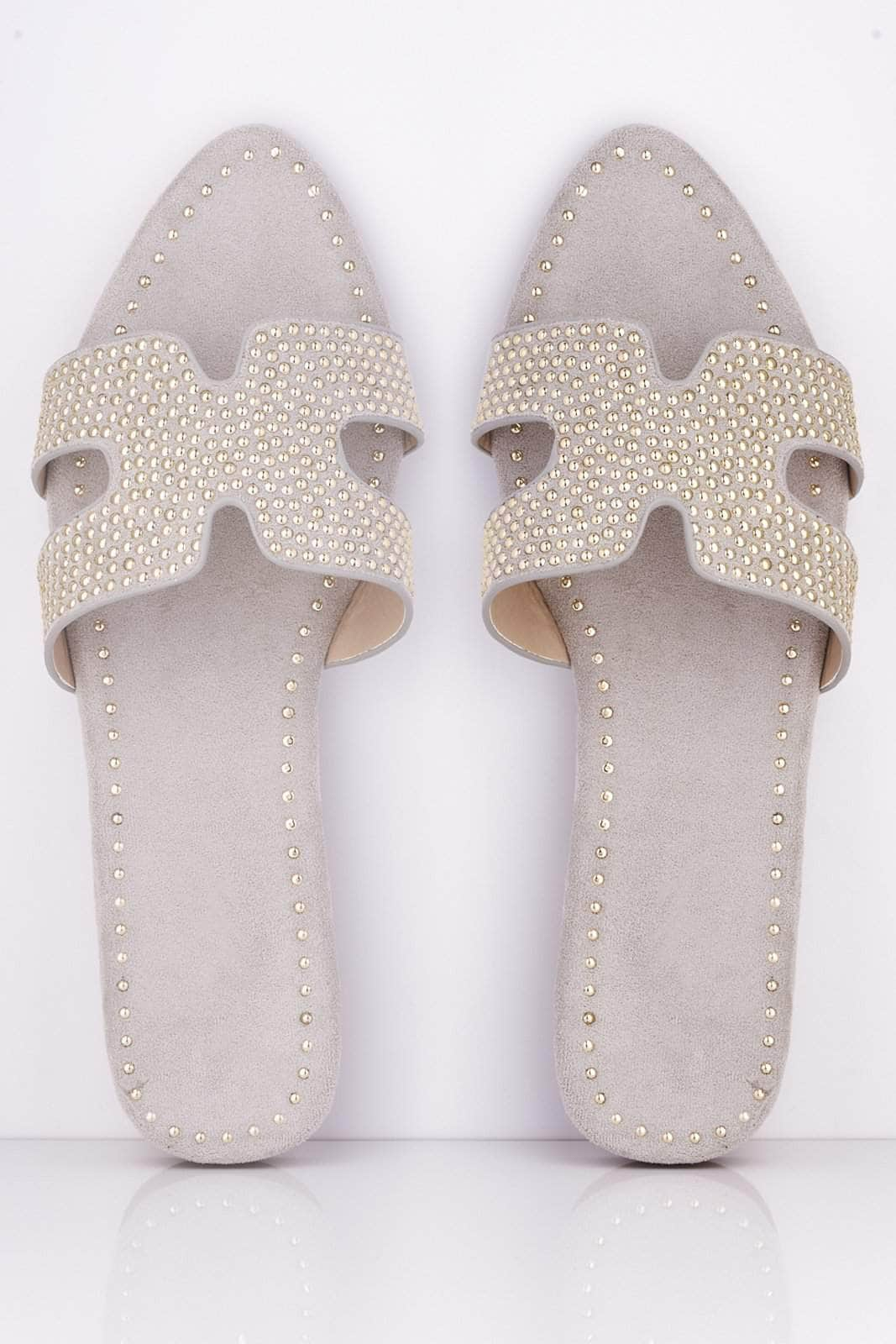 Grey Suede Studded Pointed Cut Out Sliders