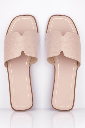 Pink Croc Cut Out Square Sliders