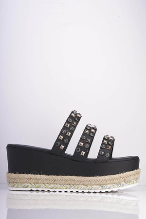 Black Pu Studded Chunky Platform Sliders