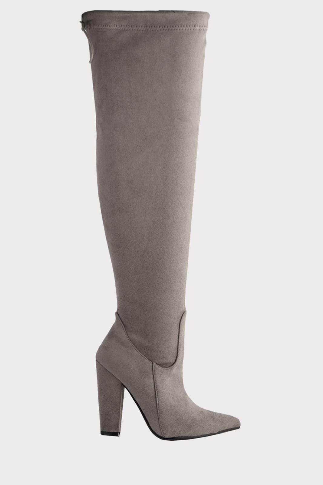 Grey Suede Pointed Knee High Boots