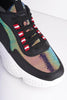 Black Pu Chunky Trainers with Rainbow Sequins