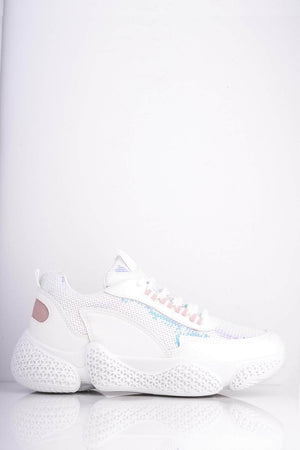 White Pu Chunky Trainers with Sequins