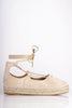 Cream Suede Lace Up Espadrilles