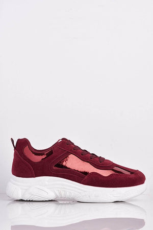 Wine Suede & Holographic Chunky Trainers