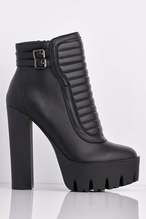 Black Quilted Platform Chunky Boots