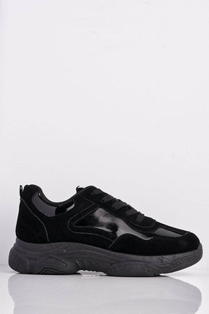 Black Suede & Holographic Chunky Trainers