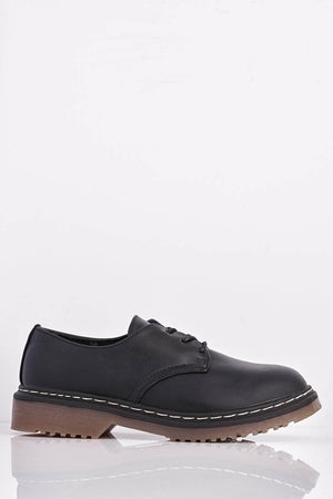 Black Pu Lace Up Brogues