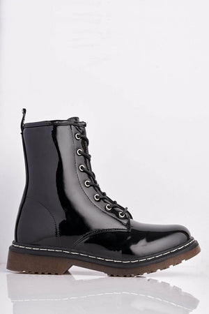 Black Patent Lace Up Boots