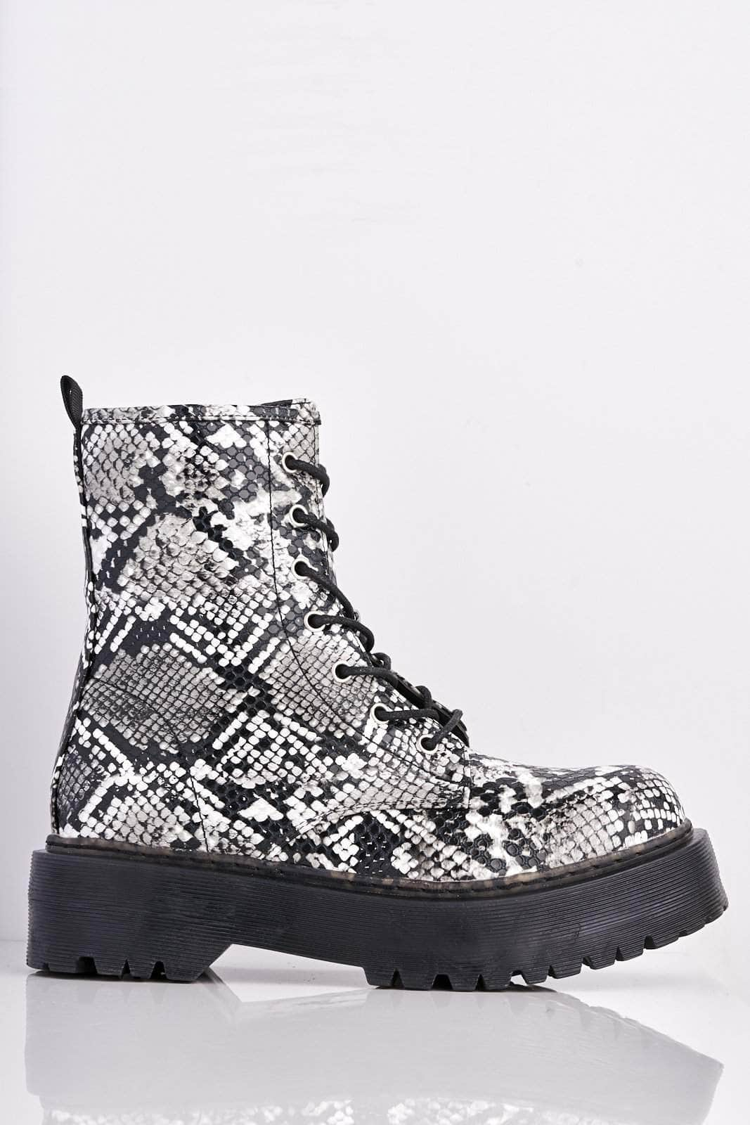Black Snake Lace Up Chunky Boots