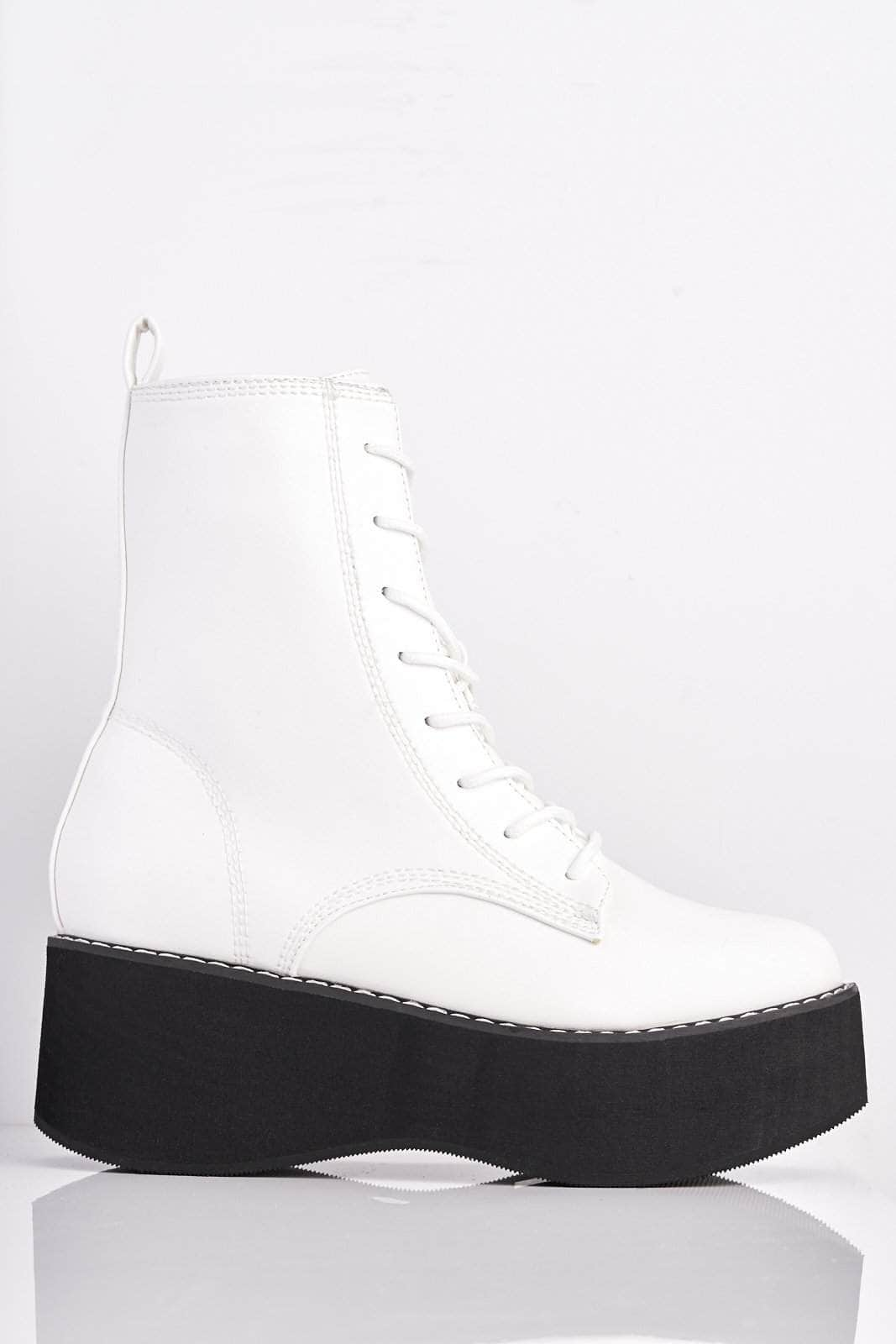 White Pu Chunky Platform Lace Up Boots