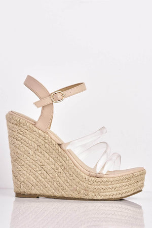 Nude Pu Espadrille Wedges with Perspex Strap
