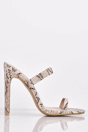 Nude Snake Toe Loop Elasticated Heels