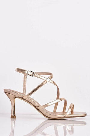 Rose Gold Metallic Square Kitten Heels