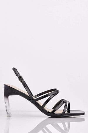 Black Patent Square Heels with Perspex Heel