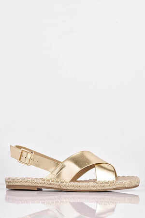 Gold Metallic Cross Over Flat Espadrilles
