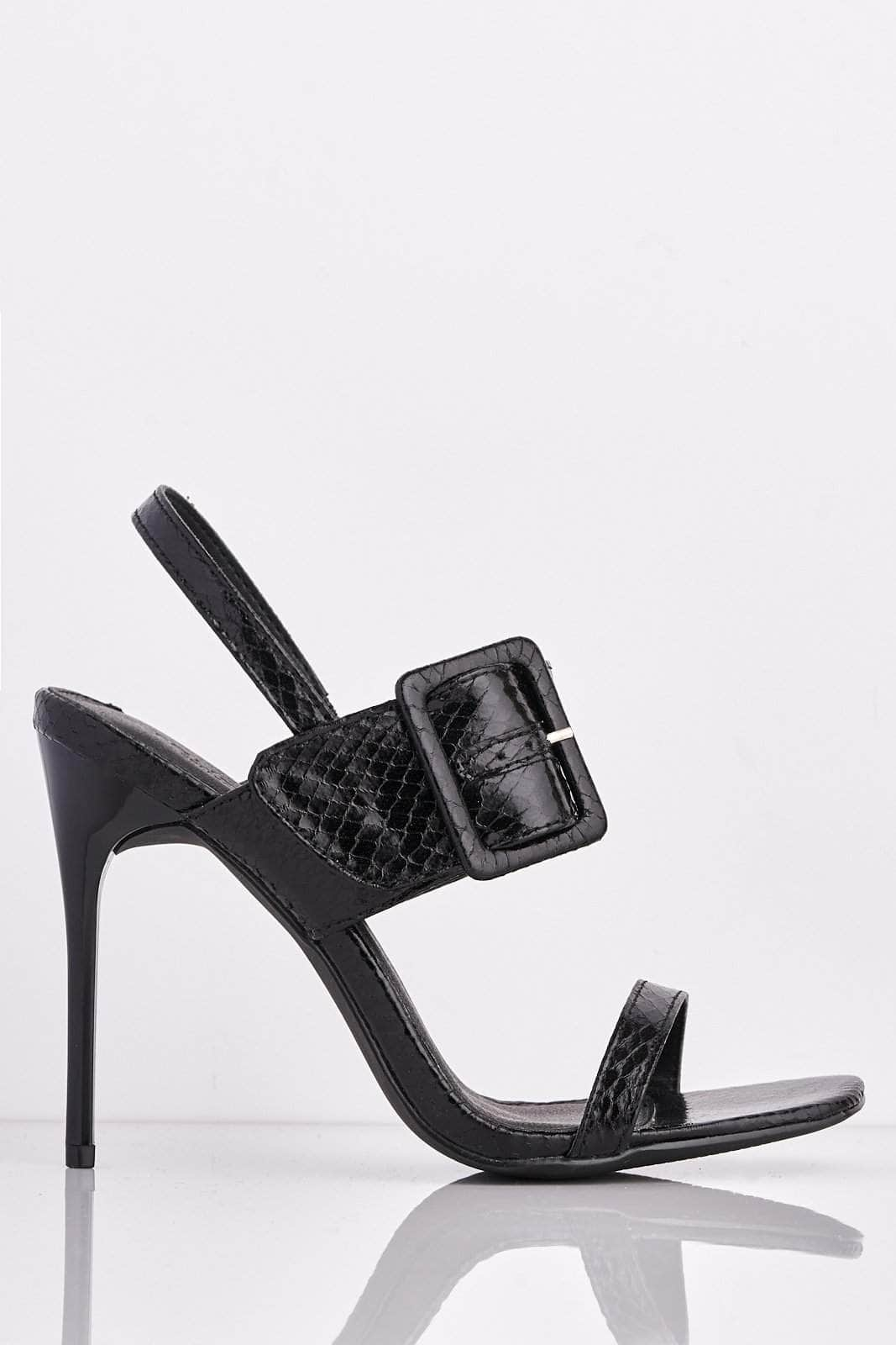 Black Croc Buckle Strap Open Toe Heels