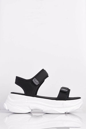 Black Contrast Velcro Sports Sandals